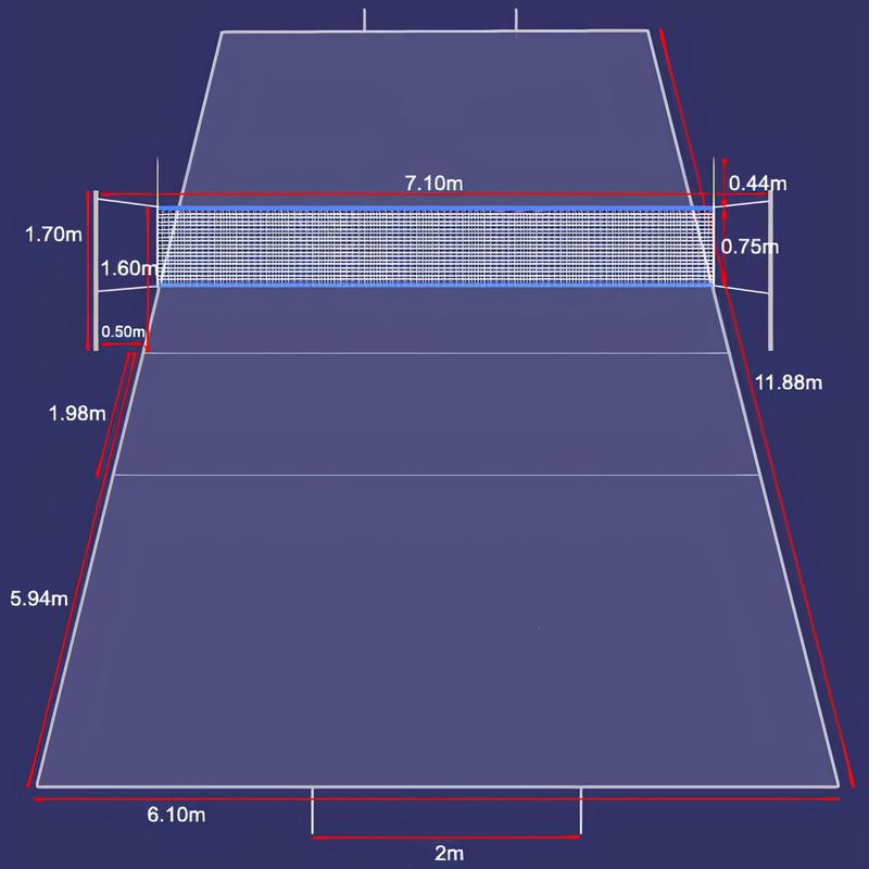 Kích thước sân đá cầu tiêu chuẩn là bao nhiêu